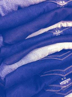 Jean Stack, Jeans, Blue, Garment, Store, Fabric