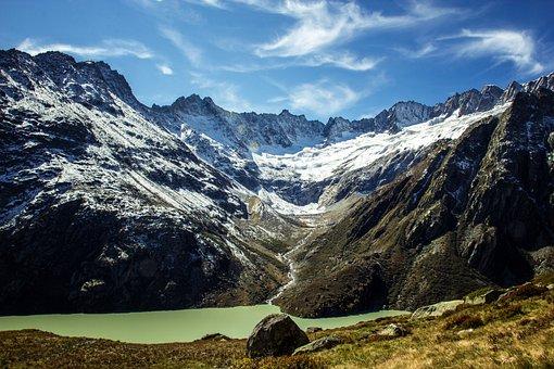 Switzerland, Ensign Alp Lake, Mountains, Landscape