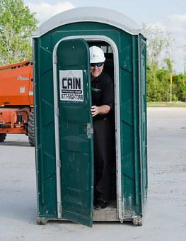 Porter Potty, Construction Guy, Bathroom, Toilet