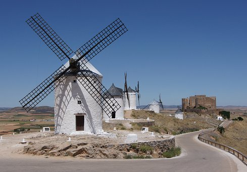 Windmills, Windräder, Wind Power, Mills, La Mancha