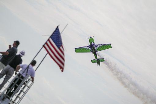Plane, Airshow, Stunt, Usa, Flag, Old Glory, Aircraft