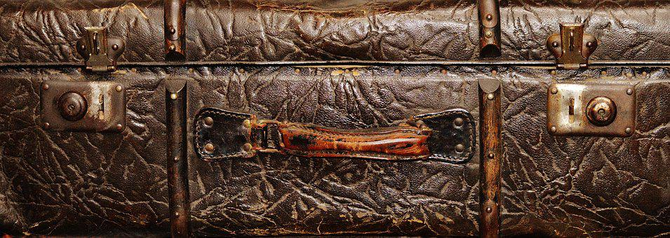 Old Suitcase, Front, Antique, Ancient, Brown, Leather