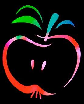 Fruit, Apple, Color, Contour, Outlines, Nuclear