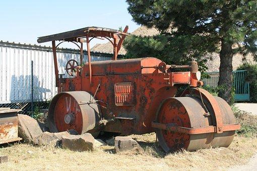 Steam Roller, Oldtimer, Automobile, Red, Auto, Retro