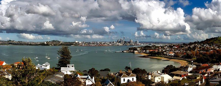 Aukland, New Zealand, Bay, Harbor, Ships, Boats