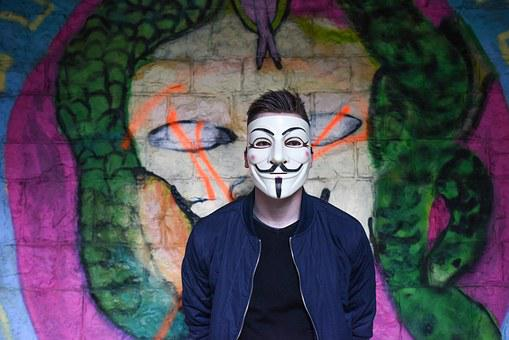 Anonymous, Graffiti, Mask, Boy, Man, Teen, Tough, Male