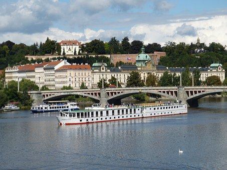 Prague, Czech Republic, Moldova, River, Bridge, Ship
