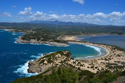 Voidkokilia, View, Sea, Greece, Water, Beach, Coast