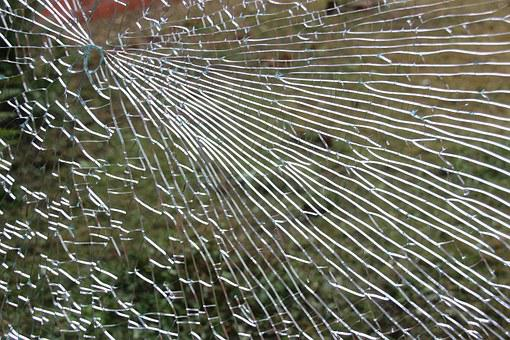 Glass, Window, Fragmented, Cracked, Glass Breakage