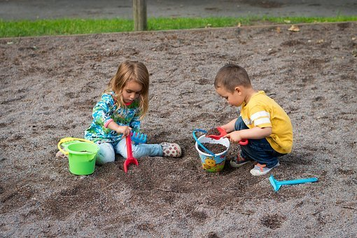 Children, Sandbox, Boy, Girl, Son, Daughter, Child