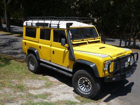 Yellow, Car, Land Rover, Landrover, Defender, Tough