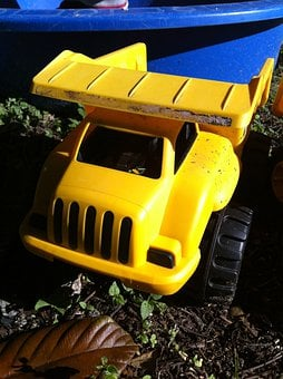 Truck, Garden, Outside, Sand Pit, Earth Mover, Yellow