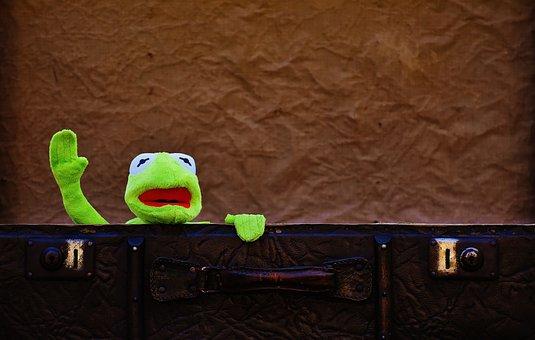 Kermit, Farewell, Cute, Children, Funny, Sweet, Luggage