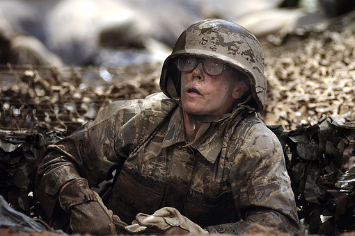 Female, Woman, Water, Military, Soldier, Wet, Muddy