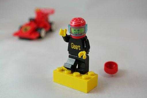 Lego, Figure, Race, Pilot, Helmet, Geert, Block, F1
