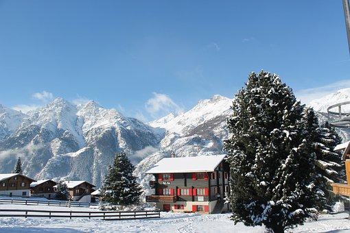 Switzerland, Holiday, Snow, Mountains, Fir, Sky, Alpine