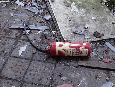 Fire Extinguisher, Old, Defect, Fire, Red, Equipment