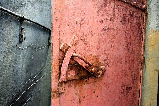Rusty, Old, Door, Scrap, Abandoned, Moss, Green, Forest