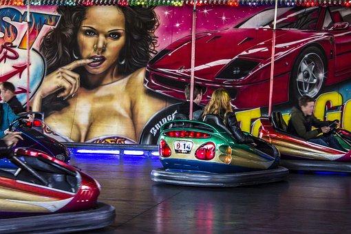 Funfair, Bumper Cars, Clash, Car, Children, Party