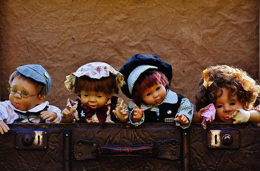 Dolls, Cute, Children, Funny, Sweet, Luggage, Antique