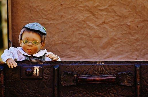 Doll, Boy, Cute, Children, Funny, Sweet, Luggage