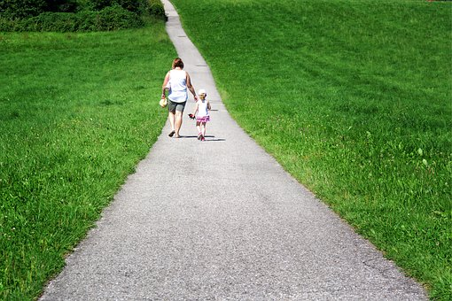 Mother, Child, Family, Away, Together, Nature, Walk, Go