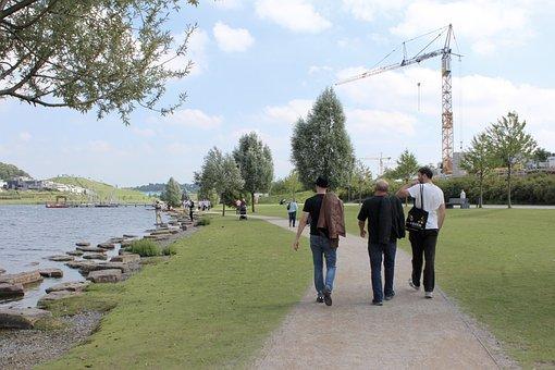 Dortmund, Phoenix Lake, Walk, Men, South Side