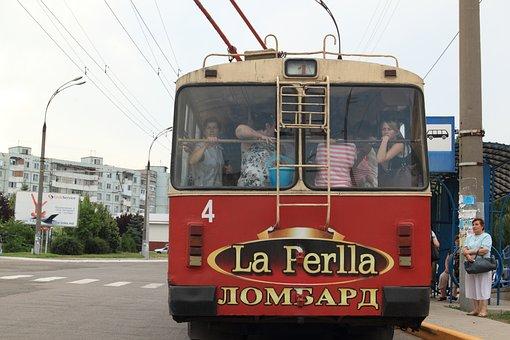 Moldova, Transnistria, Bender, Bus, Trolley, Public
