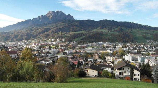 Horw, Pilatus, Mountain, Landscape, City, Lucerne
