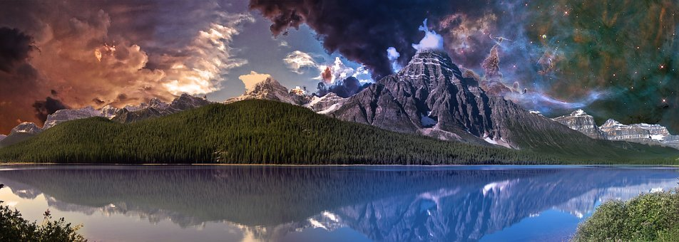 Mountains, Lake, Night Sky, Sunset, Landscape, Nature