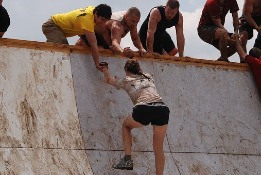 Girl, Mud, Run, Slope, Help, Challenge, Woman, Tough
