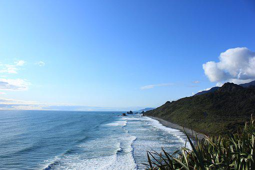 Waves, New Zealand, Sea, Beach, Nature