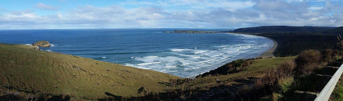 Ocean, New Zealand, Coast, Water, Beach, Tourism, Waves