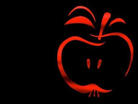 Fruit, Apple, Red, Contour, Outlines, Nuclear