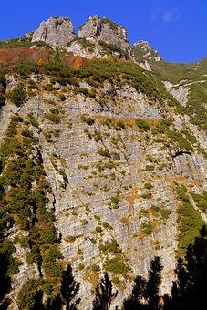 Wall, Rock, Mountain, Rocky, Ravine, Steep, Vertical