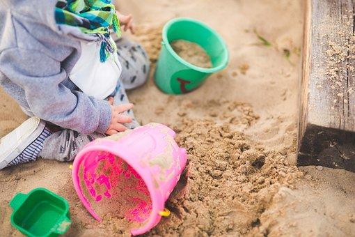 Sandpit, Child, Toys, Buckets, Playing, Fun, Children