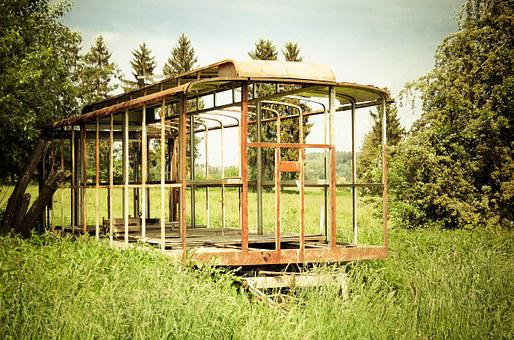 Scaffold, Bauwagen, Old, Fragile, Stainless, Retro