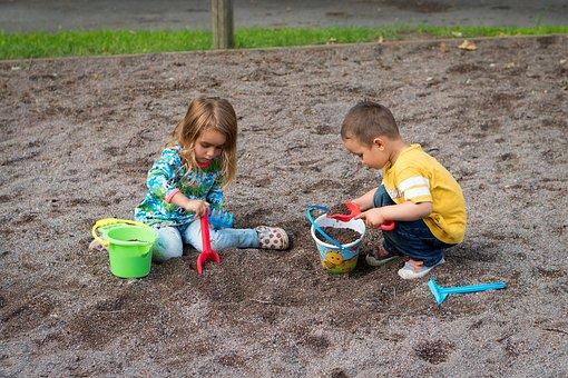 Children, Sandbox, Boy, Girl, Son, Daughter, Child