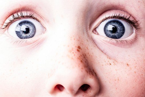 Surprised, Blue Eyes, Freckles, See, Watch, Eyes, Scare