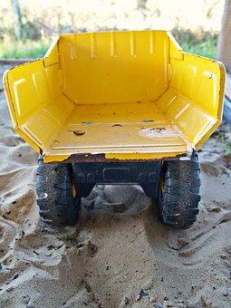 Truck, Yellow, Toy, Dump Truck, Sand, Wheels, Tray