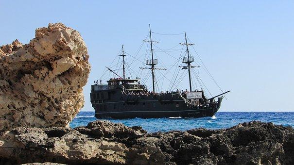 Pirate Ship, Black Pearl, Sailboat, Vintage, Sea