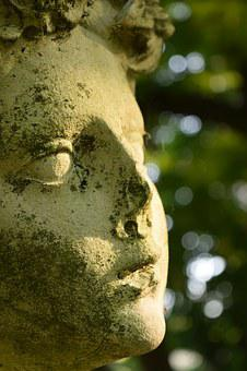 Woman's Head, Statue, Stone, Weathered, Old, Defect