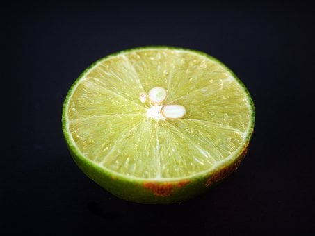 Lime, Lemon, Slice, Green, Whole, White, Leaf, Citrus