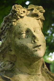 Woman's Head, Statue, Stone, Roof, Weathered, Defect