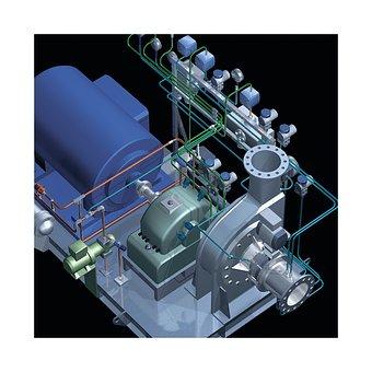 Fans, Compressor, Dryer, Technical Illustration, 3d