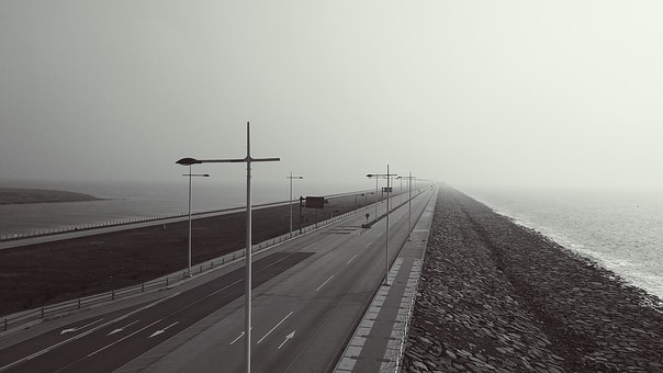 Sea, Embankment, Street Lights, Road, A Straight Line