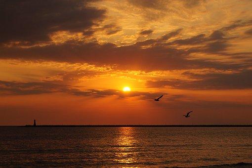Sunrise, Landscape, In The Morning, Sea, Water, Beach