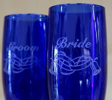 Champagne Glasses, Blue, Cobalt, Wedding, Bride, Groom