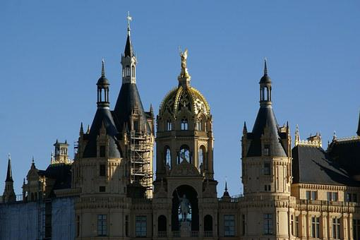 Schwerin, Castle, Germany, Dome, Cupola, Roofs, Towers