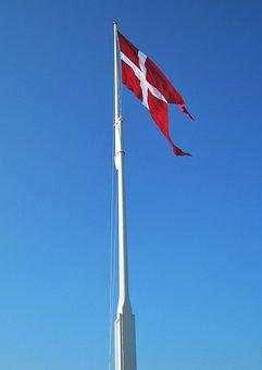Danish Flag, Flagpole, Geflaggt, Denmark, Danish, Flag